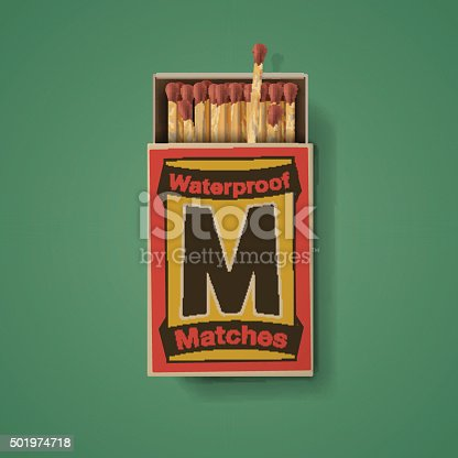 istock Matchbox and matches, top view 501974718