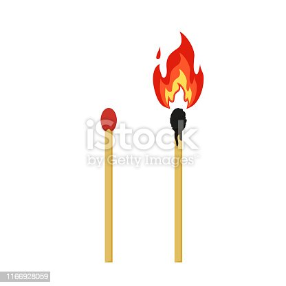 matches burning on white background in flat style
