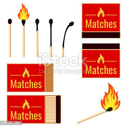 Matches flat design set. Vector illustrations burning matchstick on fire, opened matchbox, burnt matchstick, match remainder isolated on white background. Symbol of ignition, burning, withering.