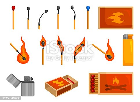 Matches light, matchbox and lighter to create fire. Burning or smoker set. Vector flat style cartoon illustration isolated on white background