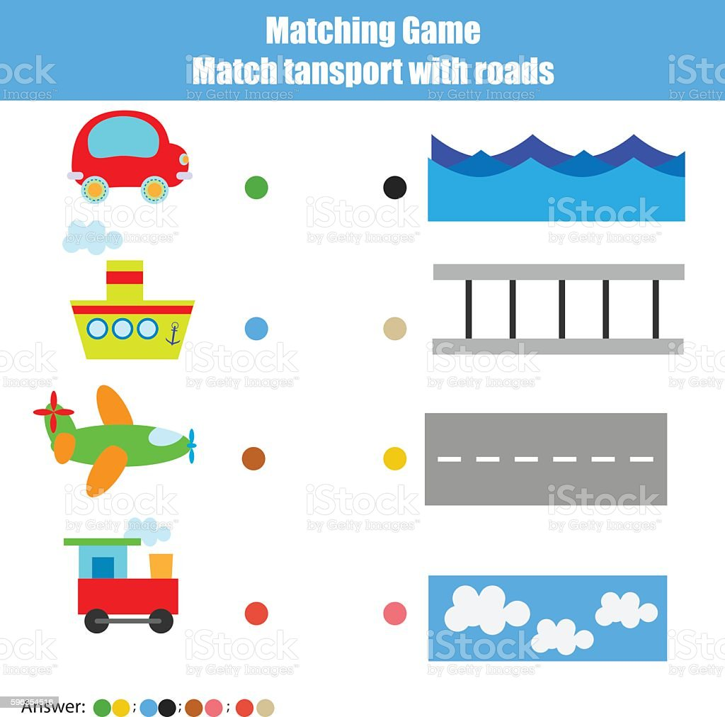 Matching children education game, kids activity. Match transport with road royalty-free matching children education game kids activity match transport with road stock vector art & more images of education