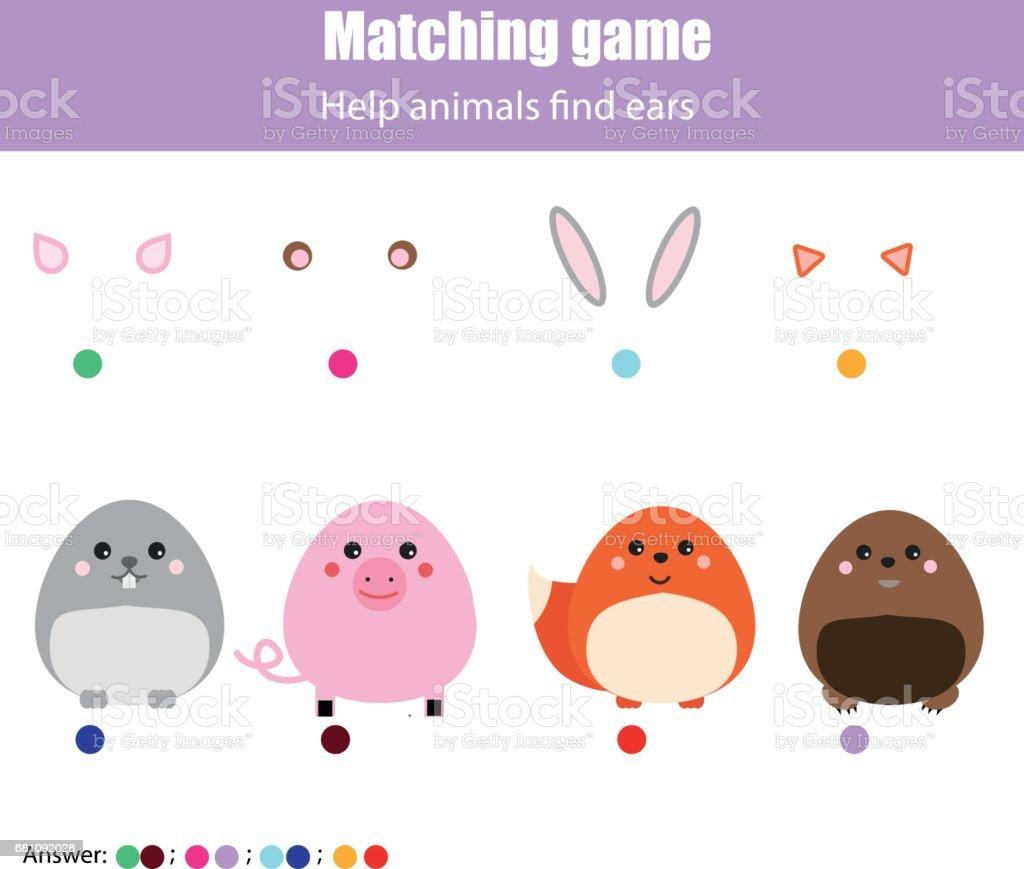 子供教育的なゲームをマッチングします動物の耳を見つけるを助けます子供