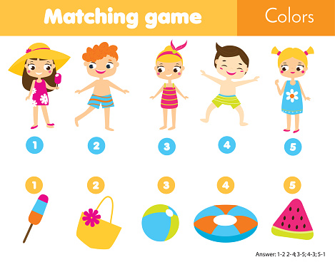 Matching children educational game. Match by color. Activity for kids and toddlers summer holidays theme