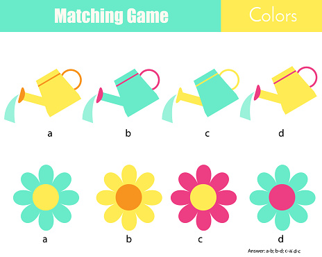 Matching children educational game. match by color