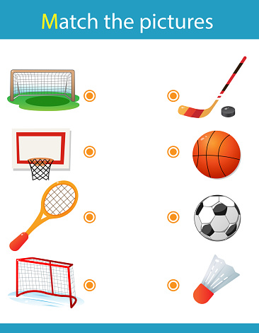 Matching game, education game for children. Puzzle for kids. Match the right object. Sports equipment. Basketball, soccer, hockey, badminton.