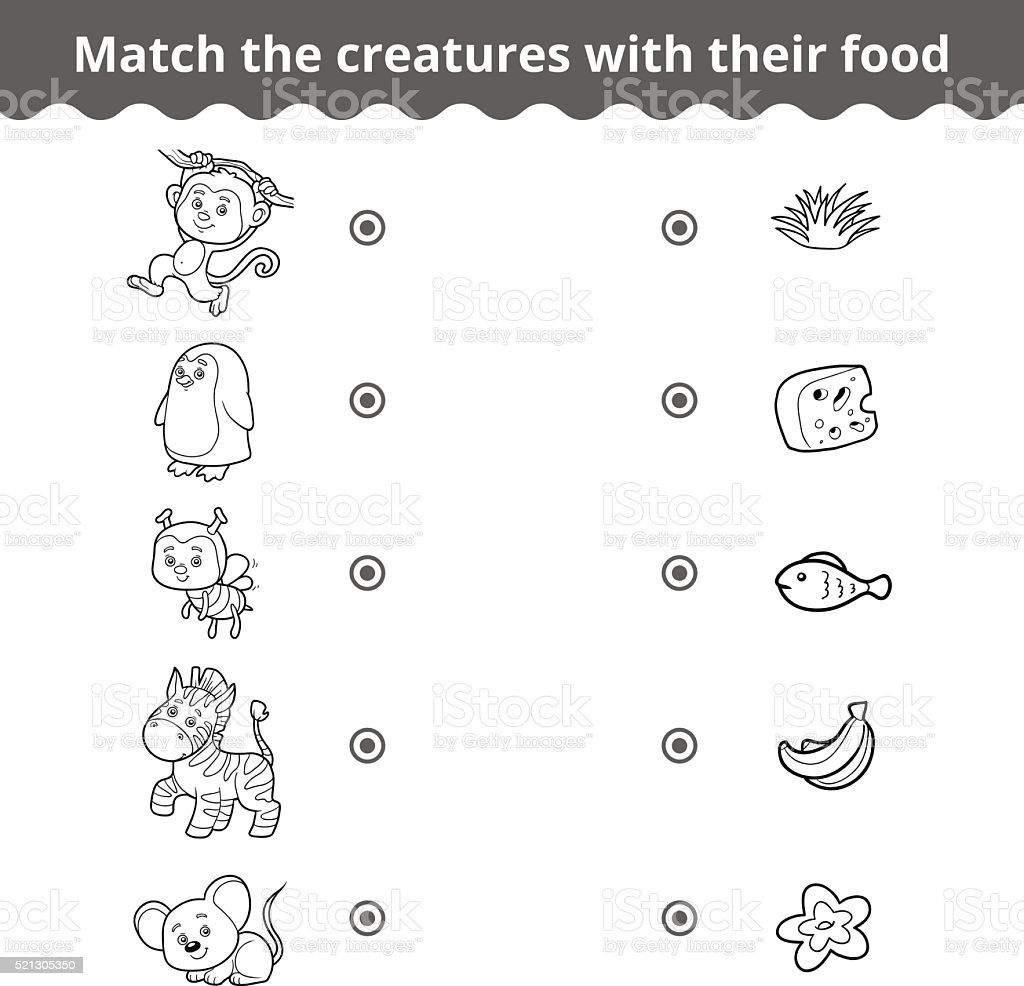 Matching Game For Children Animals And Favorite Food Stock ...