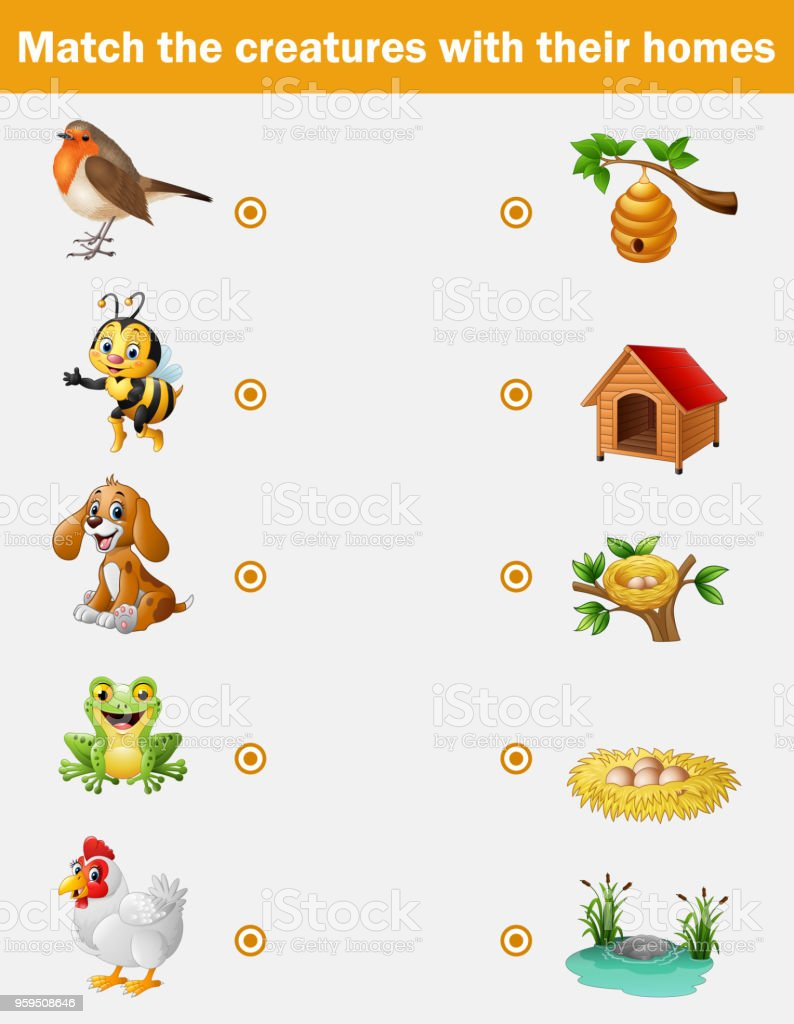 matching game for children animals with their homes stock illustration download image now istock. Black Bedroom Furniture Sets. Home Design Ideas