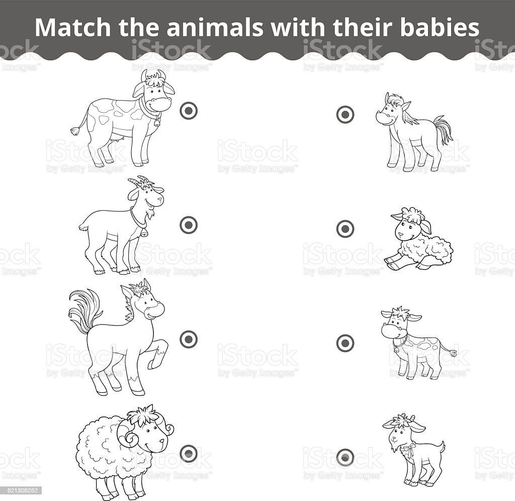 Ilustración de Comparación De Juegos Para Niños Animales De Granja Y ...