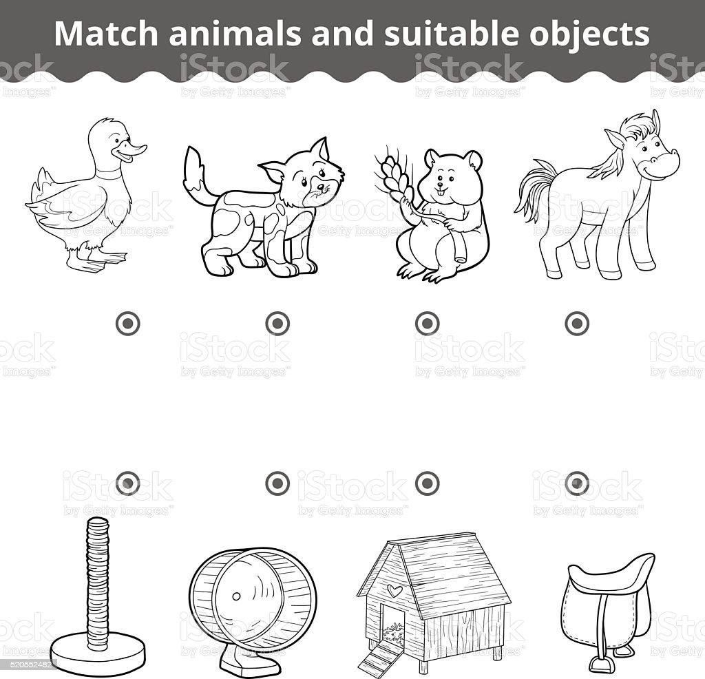 Ilustración De Comparación De Juegos Para Niños Coinciden Con Los
