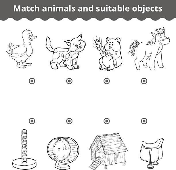 passende spiel für kinder. tiere und objekte spiel geeignet - hamsterhaus stock-grafiken, -clipart, -cartoons und -symbole