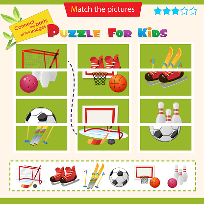 Matching game for children. Puzzle for kids. Match the right parts of the images. Set of sports equipment.  Soccer, football, basketball, skate, hockey, skiing, bowling.