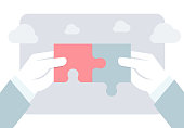 istock Matching puzzle pieces vector flat background icon. Two hands joining and linking together two pieces of a jigsaw puzzle. Business solutions, ideas, creativity, problem solving and partnerships 1324970796