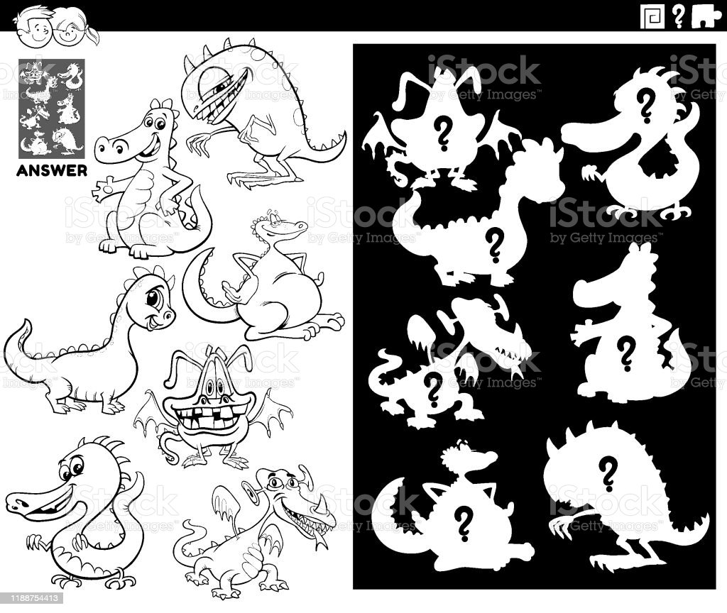 Matching Shapes Game With Dragons Color Book Stock Illustration Download Image Now Istock