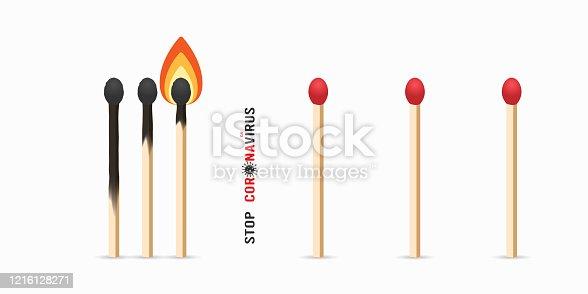 Matchsticks with flame. Social distancing coronavirus quarantine concept. Covid 19 epidemic