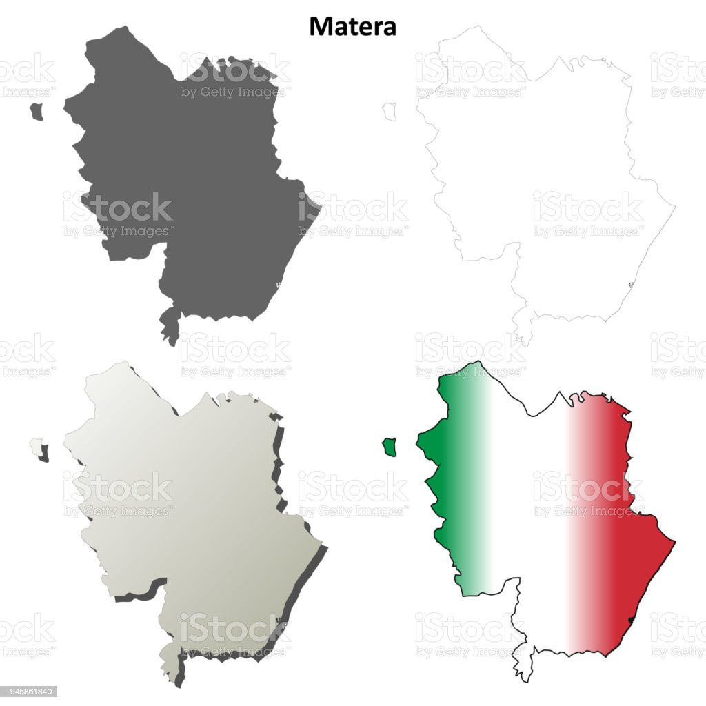Matera Blank Detailed Outline Map Set Stock Vector Art More Images