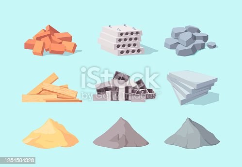 Material building set. Piles large gray cement facing stone drywall packaging yellow sand concrete blocks pile red brick.