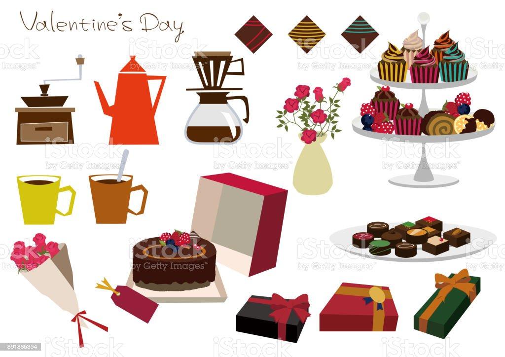 Materialsammlung Von Schokolade Geschenk. Kuchen Materialsammlung.  Valentinstag Materialsammlung. Lizenzfreies Vektor Illustration