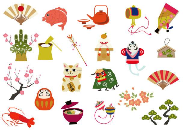 日本の運の資料集。和柄。日本のスタイルです。伝統的な商品です。装飾用。 - 門松点のイラスト素材/クリップアート素材/マンガ素材/アイコン素材