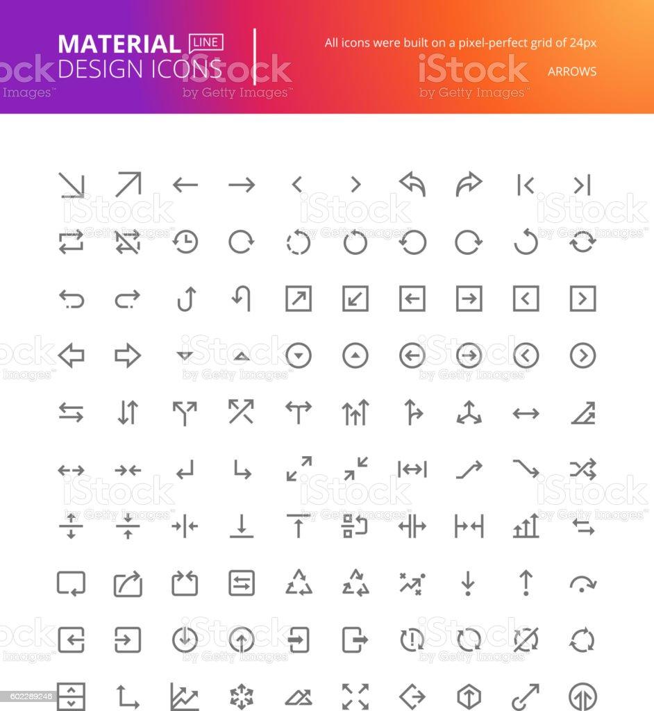 Material design arrow icons set vector art illustration