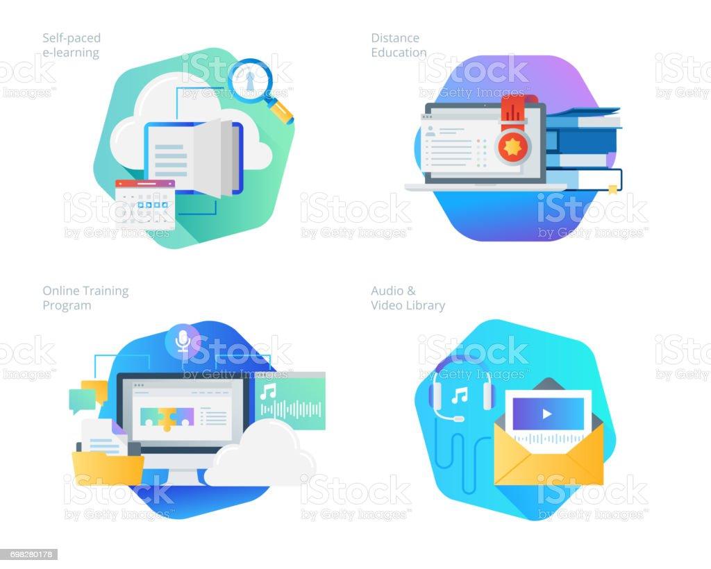 Material Design-Ikonen stellen für den Fernunterricht, Audio- und video-Bibliothek, Online-Schulungen und Kursen zum Selbststudium e-learning – Vektorgrafik