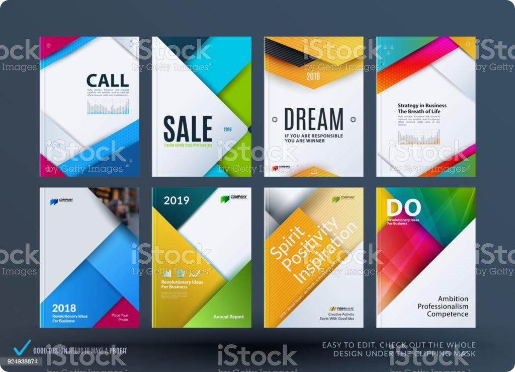 Vetores de Material Design Da Brochura Conjunto Abstrato