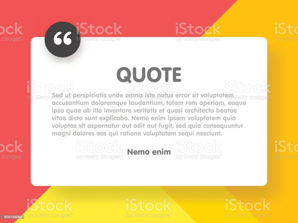 Material design style background and quote rectangle with sample text information vector illustration template vector art illustration