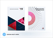 Material design template. Creative abstract brochure set, annual report, horizontal cover, flyer in A4 with red colourful layers for branding, exhibition. Business vector presentation.