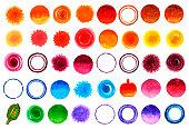 istock Material illustrations of polka dots and circles drawn in watercolor [Set] 1286799306
