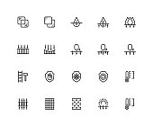 Material properties vector icon set in thin line style. Pixel perfect, 48x48 grid