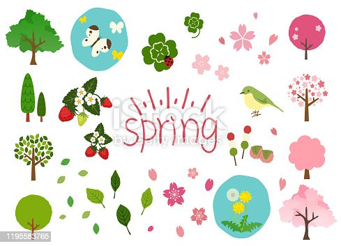 Material set of cute spring illustrations.