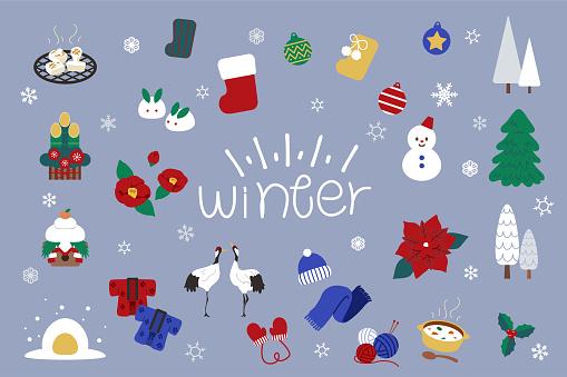 Material set of cute winter illustrations.