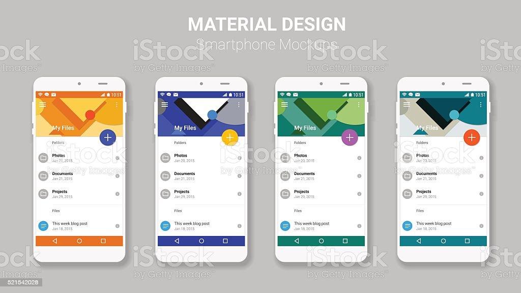 Material UI screens mockup kit vector art illustration