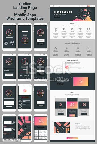 Responsive landing page or one page website and mobile apps template mockups wireframe workflow collection