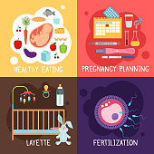 Maternity banners. Pregnancy planning and fertilization, health diet for pregnant women and layette vector illustration. Color conceptual posters about maternity