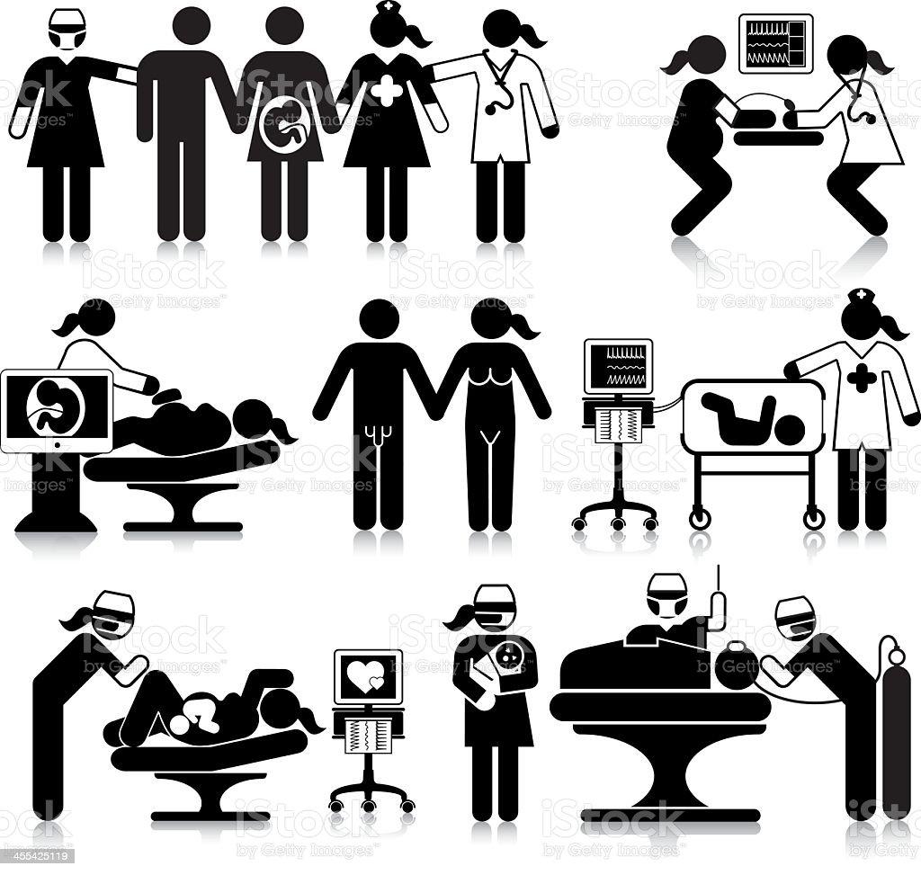 Maternity Department Activities vector art illustration