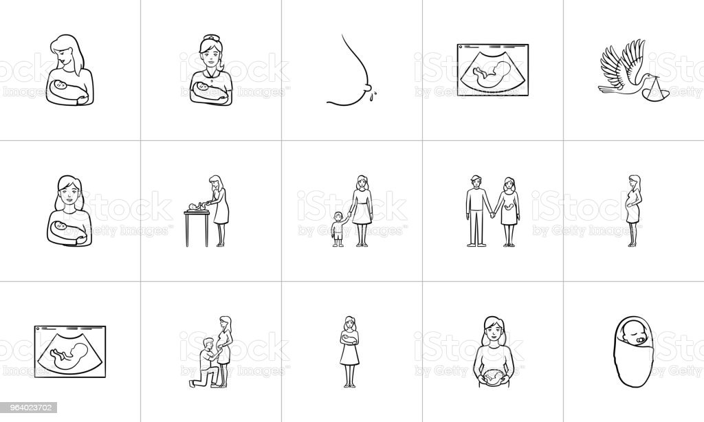 Maternity hand drawn sketch icon set - Royalty-free Adult stock vector