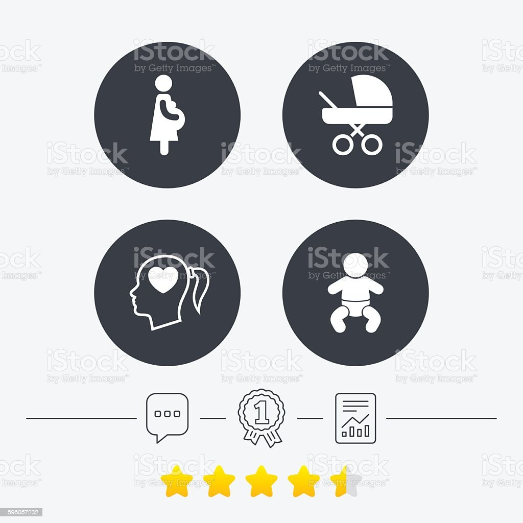 Maternity icons. Baby infant, pregnancy, buggy. royalty-free maternity icons baby infant pregnancy buggy stock vector art & more images of adult