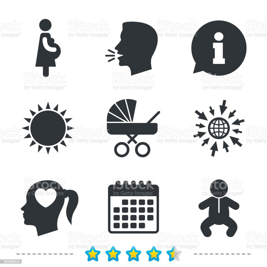Maternity icons. Baby infant, pregnancy, buggy. vector art illustration