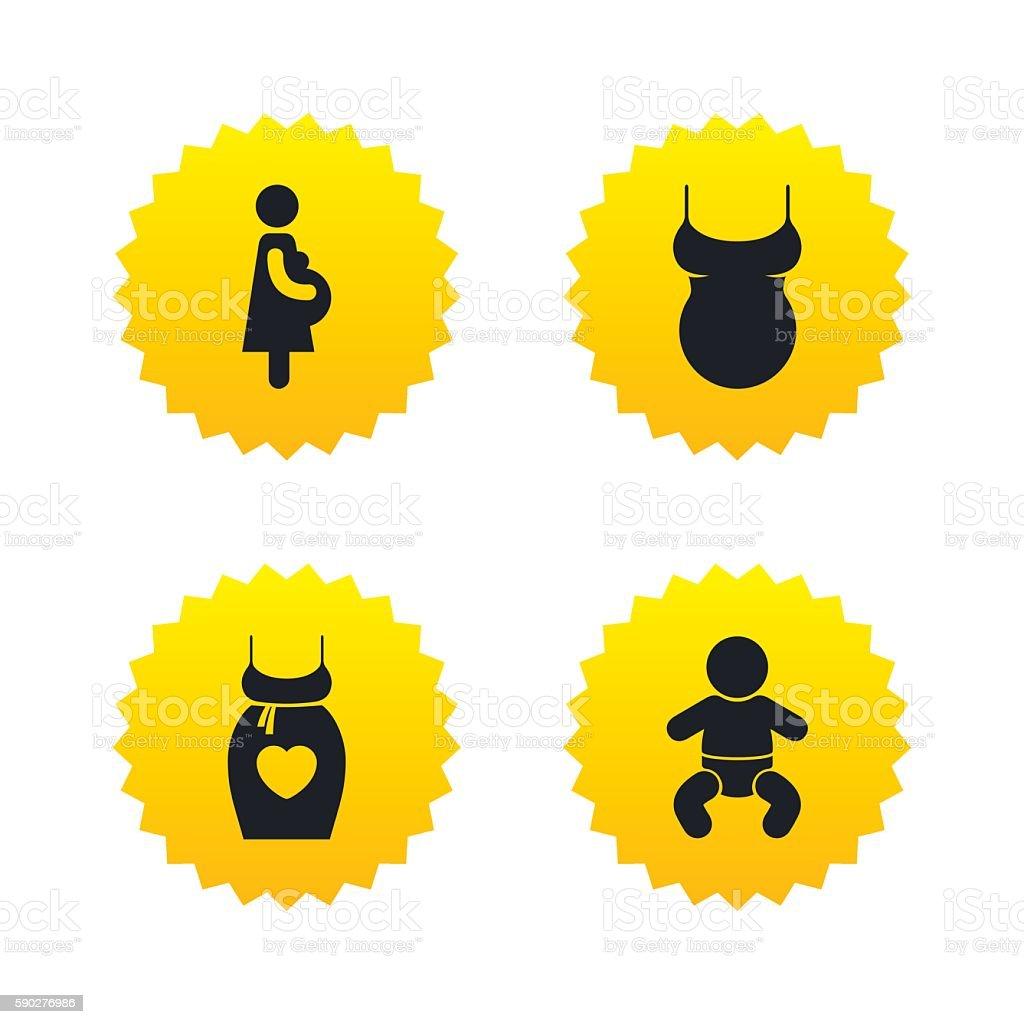564d1bba1 Ilustración de Iconos De La Maternidad Bebé Lactante El Embarazo ...