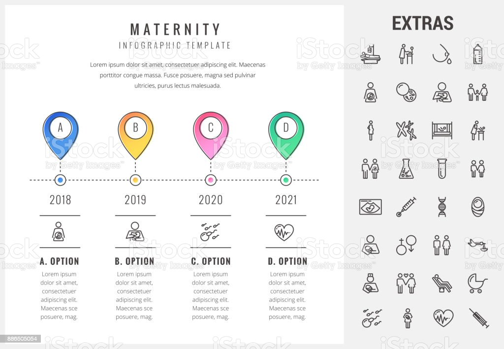 Maternity infographic template, elements and icons vector art illustration