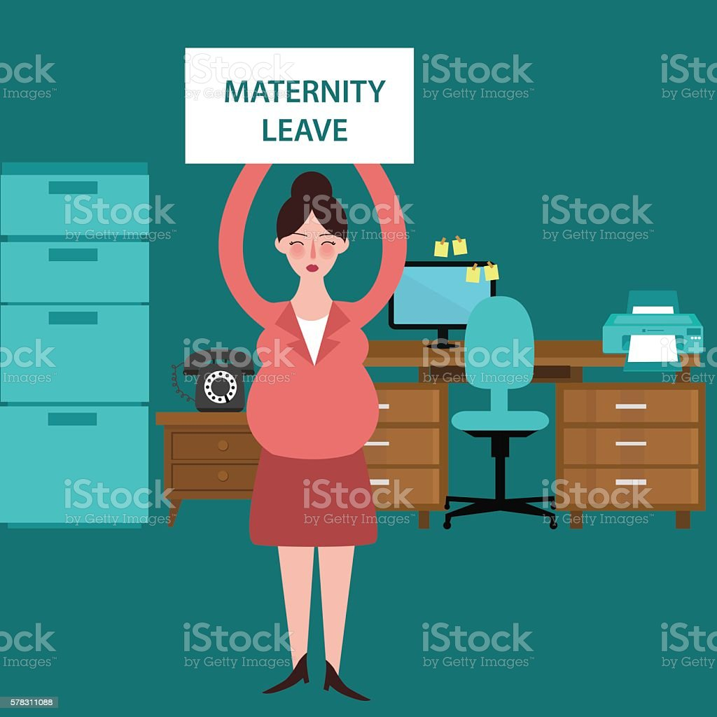 maternity leave parental pregnant woman get paid during pregnancy absent vector art illustration