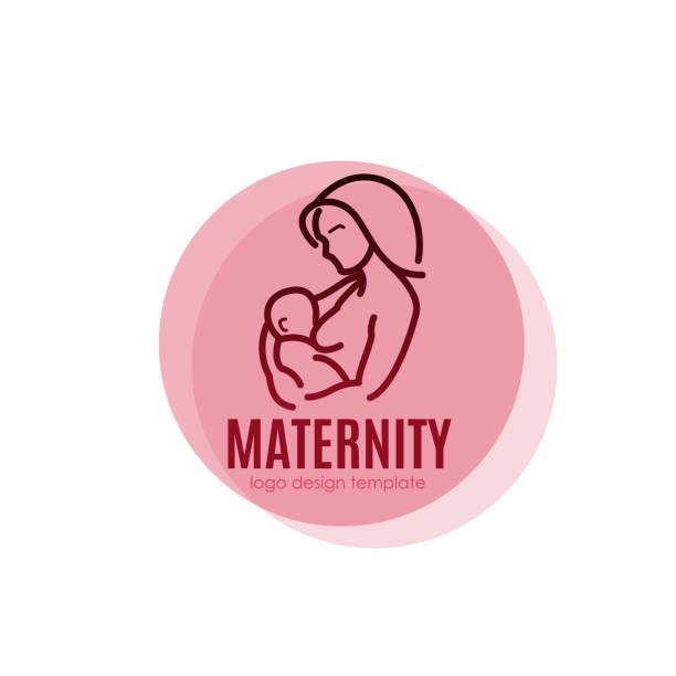 Maternity logo concept - beauty woman with newborn. Vector design template in linear style vector art illustration