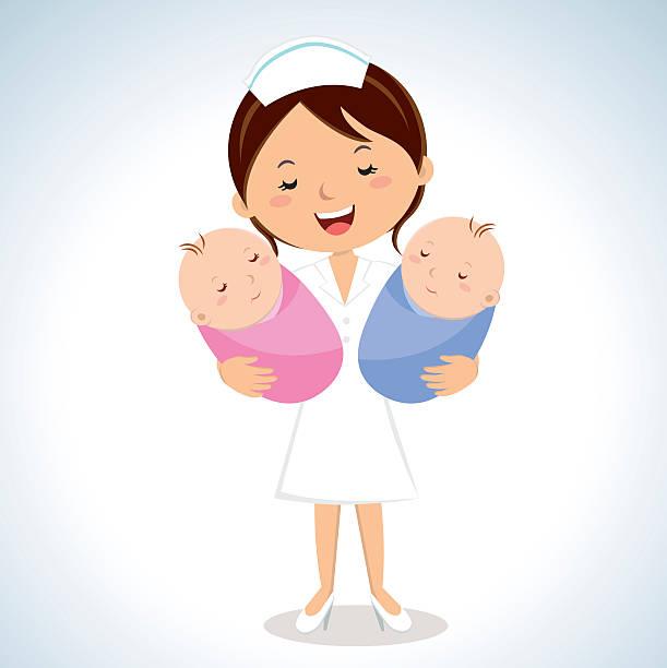 ilustrações, clipart, desenhos animados e ícones de maternidade enfermeira levando bebês - enfermeira