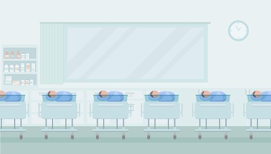 Maternity ward with newborn baby