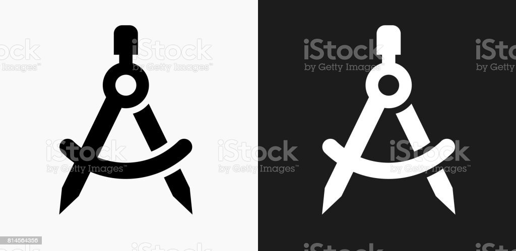 Math Compass Icon On Black And White Vector Backgrounds Royalty Free