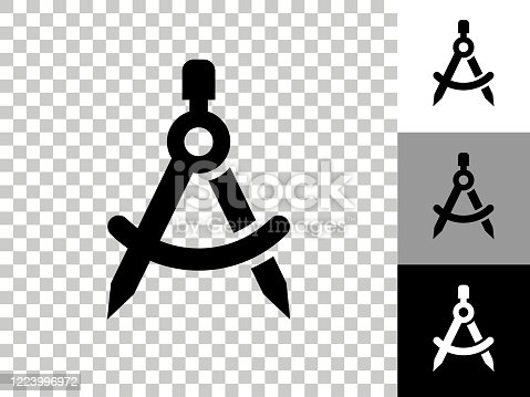 istock Math Compass Icon on Checkerboard Transparent Background 1223996972