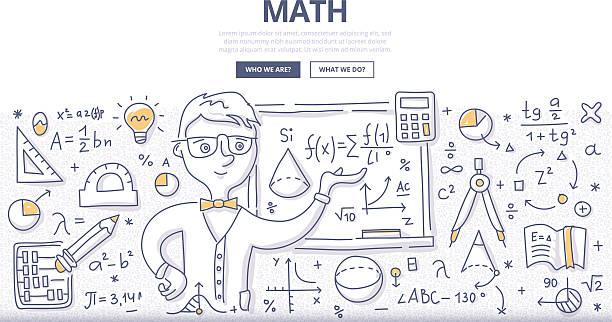 mathematik gekritzel konzept - geometriestunde grafiken stock-grafiken, -clipart, -cartoons und -symbole