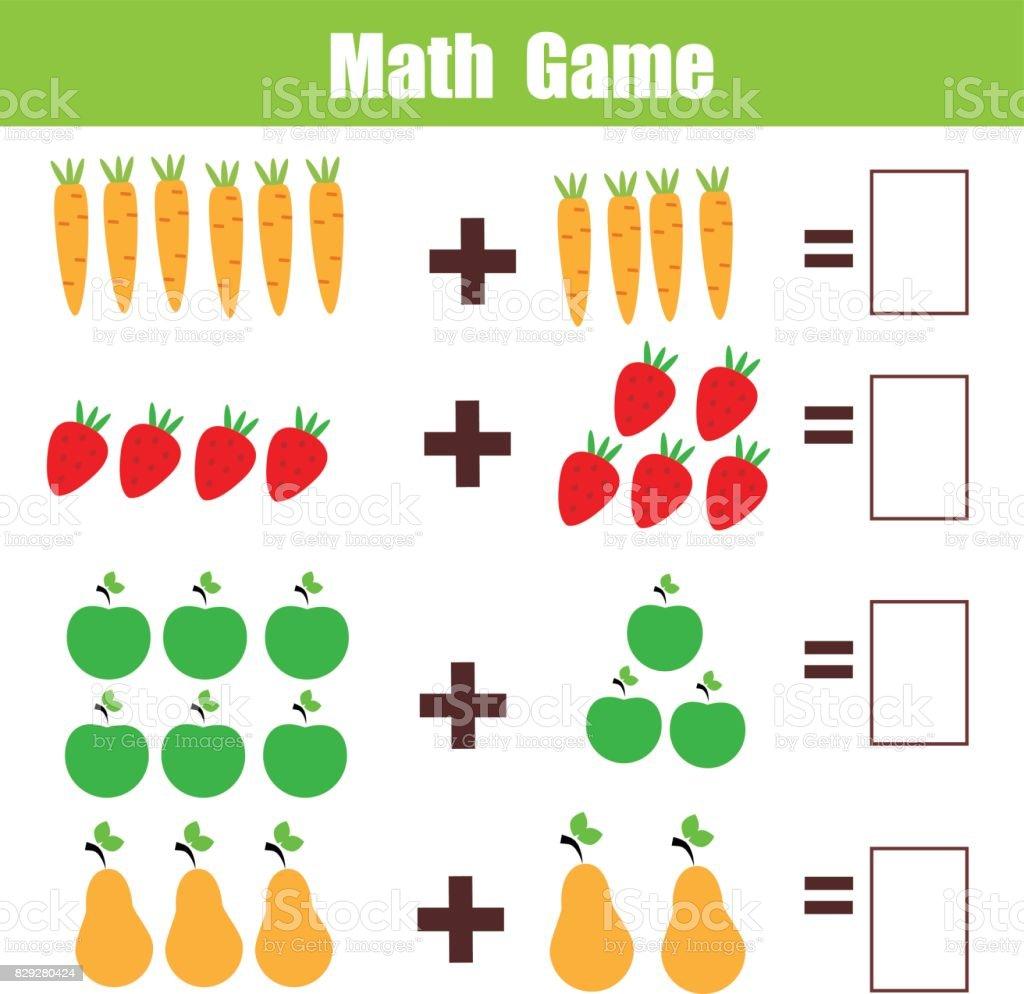 Mathe Lernspiel Für Kinder Neben Mathematik Arbeitsblatt Stock ...