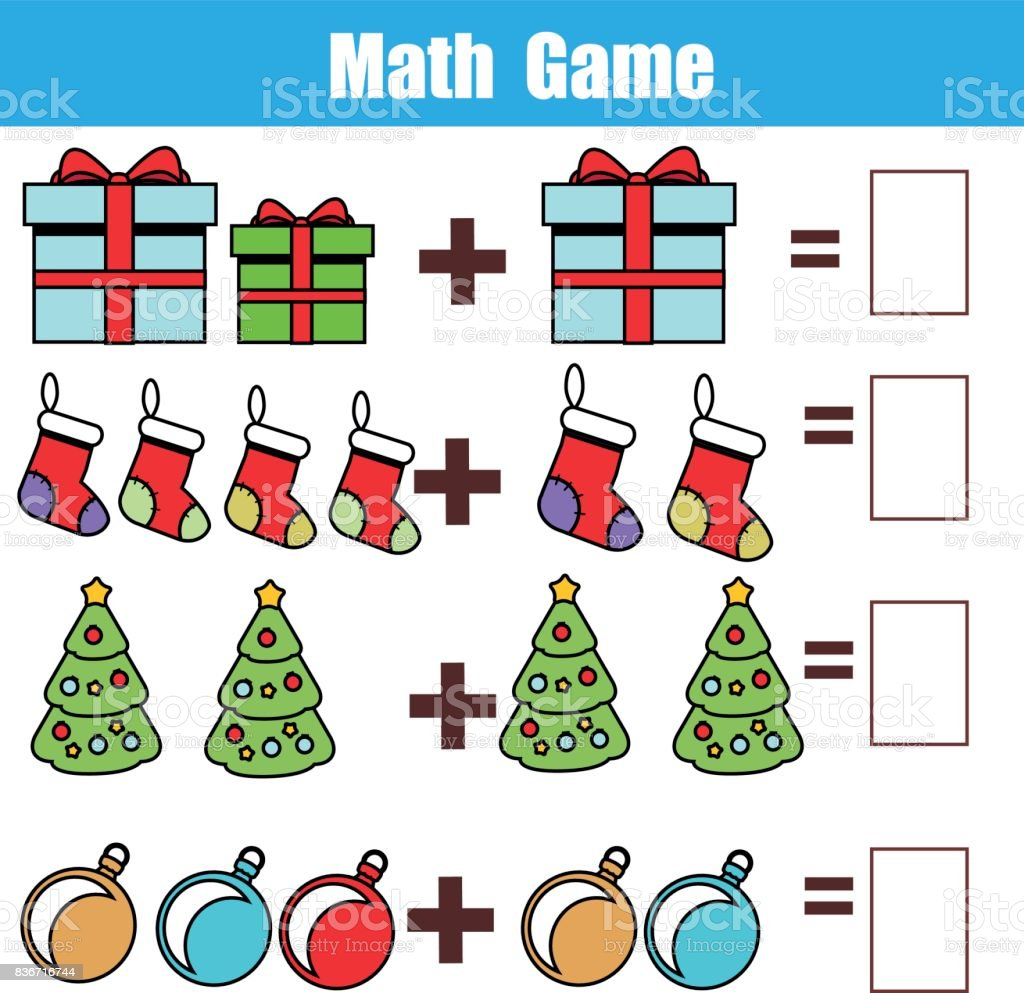 Math Educational Game For Children Counting Equations Addition Worksheet Christmas Theme Stock Illustration Download Image Now