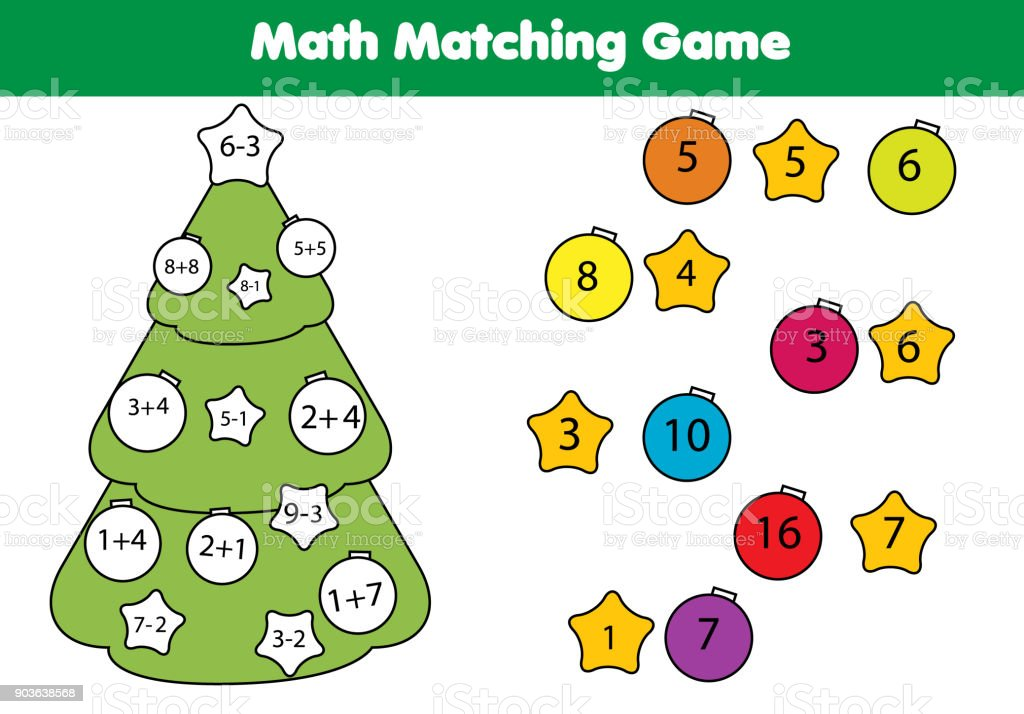 Math Educational Game For Children Matching Mathematics Activity ...